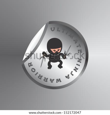 adorable ultimate black ninja warrior sticker label - stock vector