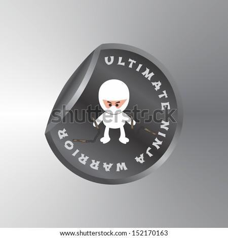 adorable ultimate white ninja warrior sticker label - stock vector