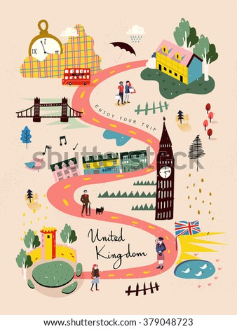 adorable United Kingdom travel map in hand drawn style - stock vector