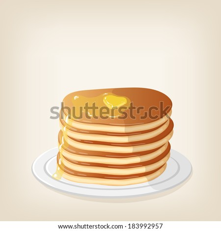 Adorable vector pancakes with a piece of butter on top - stock vector