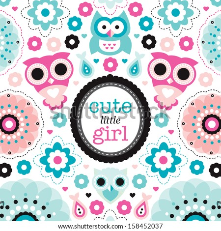 Adorable vintage owl and pastel flowers illustration little girl new born baby announcement card template in vector  - stock vector