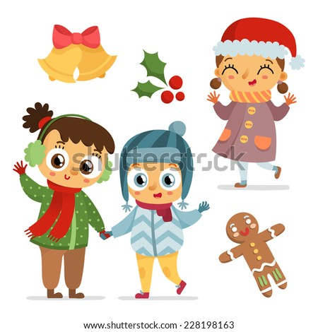 Adorable winter set of children characters and christmas symbols, isolated on white - stock vector