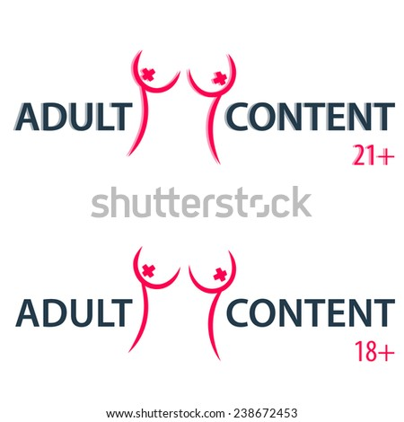 adult content sign vector illustration, eps10, easy to edit - stock vector