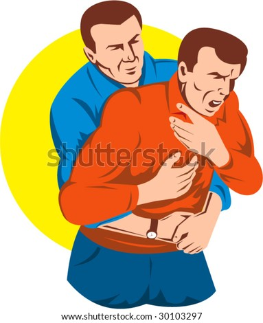Adult giving another adult male a heimlich maneuver - stock vector