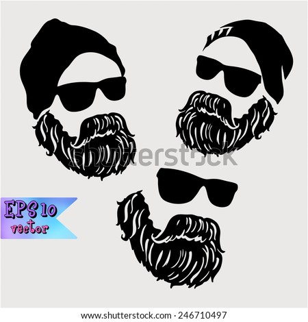 Adult man with a mustache is a symbol of a strong successful creative men male - stock vector