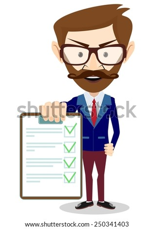 Adult successful businessman holding a paper, vector illustration - stock vector