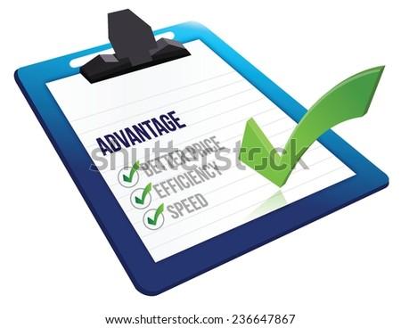 advantage list checkmark illustration design over a white background - stock vector