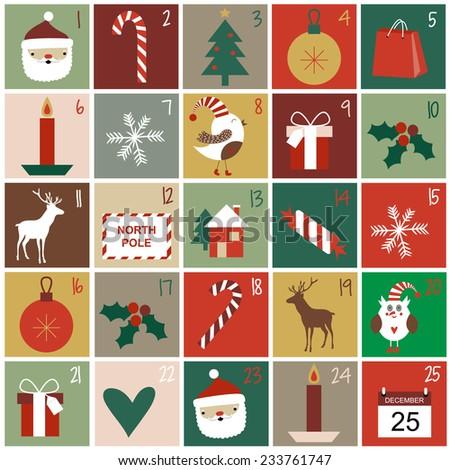 Advent calendar - stock vector