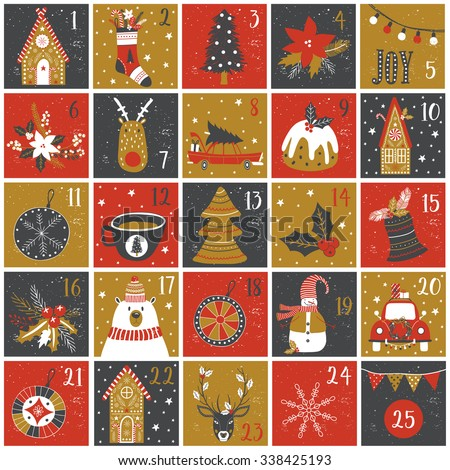 Advent calendar. Christmas poster. - stock vector
