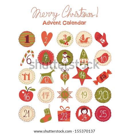 Advent calendar with various seasonal objects and symbols - stock vector