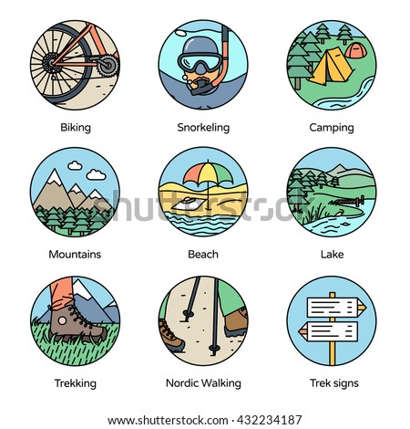 Adventure Circle Icons Collection 1. Trekking, camping and outdoor activities in flat line icons style. - stock vector