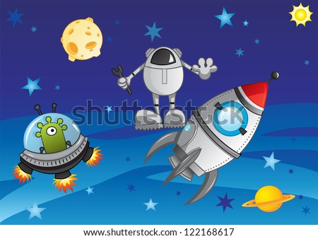 Adventure in cosmos - stock vector