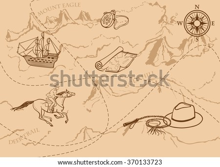 Adventure vintage seamless pattern. Map of treasure with rider, mountains, hills, river, compass and other design elements. Vector hand drawn background. - stock vector