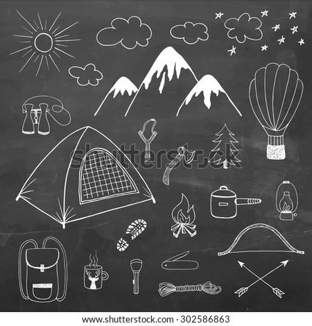 Adventures hand drawn vector doodle set in vintage style on chalkboard background - stock vector