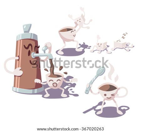Adventures of coffee cup. Part 2. Vector illustration. - stock vector