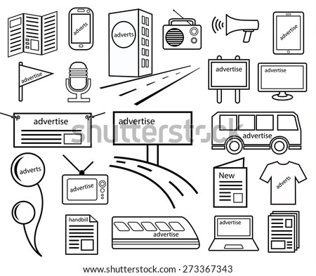 advertise channels media icon of marketing on journal, news, television, radio, billboards, tower, balloon, internet, shirt, public transport, mobile, Brochure, handbill and magazine - stock vector