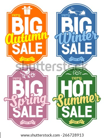Advertisement about the seasonal summer, winter, autumn and spring sale. Isolated on white background. Vector illustration.  - stock vector