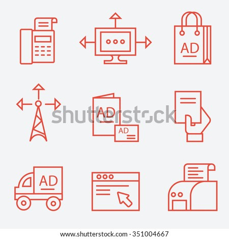 Advertisement and media icons, thin line flat design - stock vector