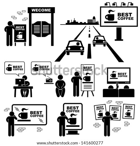 Advertisement Board Billboard Marketing Frame Stick Figure Pictogram Icon - stock vector