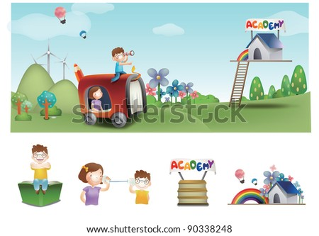 Advertisement for Academy School - traveling a cute son and happy mom look for successful campus life in joyful camping park on a background of beautiful blue sky and green grass : vector illustration - stock vector
