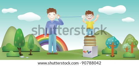 Advertisement for Academy School - with smiling schoolchild and dad - stock vector