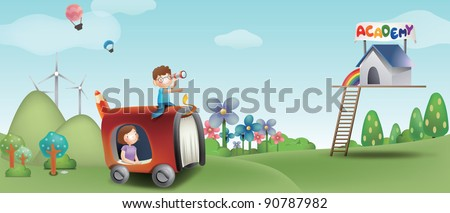 Advertisement for Academy School - with smiling young schoolchild and mom at the camping park - stock vector