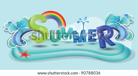 Advertisement  for Happy Playing in Water - swimming with colorful funny letters and cute red starfish on blue background : vector illustration - stock vector