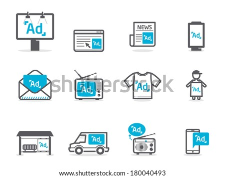 Advertisement icons set - stock vector