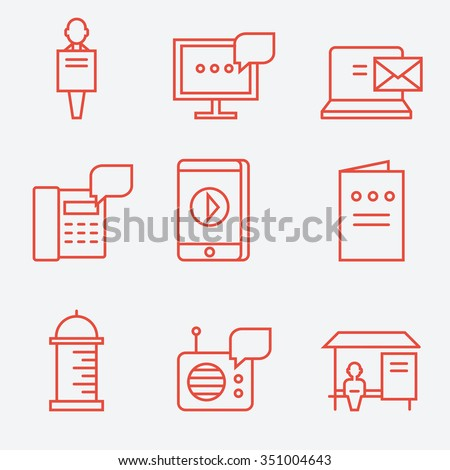 Advertisement icons, thin line flat design  - stock vector