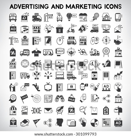 advertising and marketing icons, vector set - stock vector