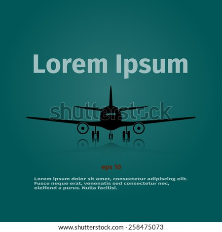 Advertising card with airplane on the background, vector illustration - stock vector