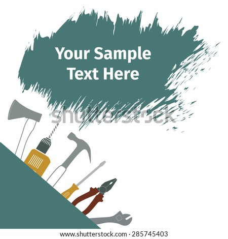 ... card with different tools, vector illustration - stock vector
