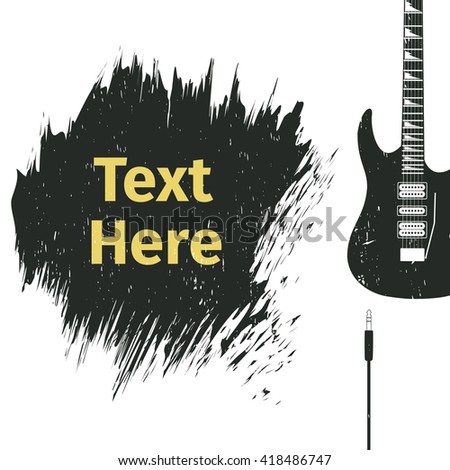 Advertising card with guitar - stock vector