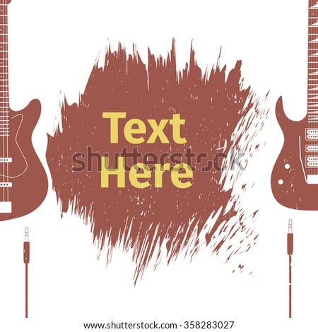 Advertising card with two guitar, vector illustration - stock vector