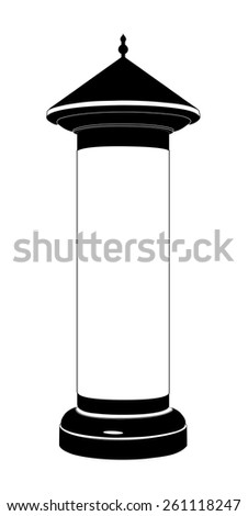 Advertising column in black and white, Vector illustration isolated on white background - stock vector