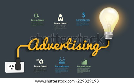 Advertising concept, Creative light bulb idea abstract infographic layout, diagram, step up options, Vector illustration modern design template - stock vector