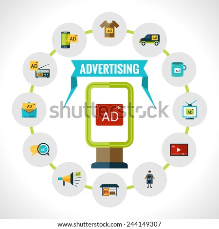 Advertising concept with outdoor billboard with ad and marketing icons set vector illustration - stock vector
