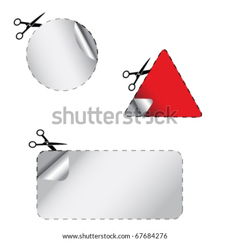 advertising coupon cut from sheet of paper. - stock vector