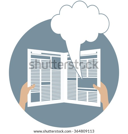 Advertising in the newspaper with speech bubble. Blank newspaper. Advertisement material. Sale bubble. Ad in paper. Newspaper ad. Layout of advertisement. Template ad in newspaper. Vector illustration - stock vector