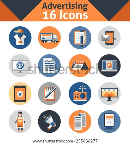 Advertising media support marketing and promotion icons set isolated vector illustration - stock vector
