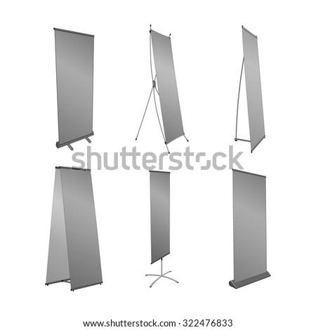 advertising pillar of different designs. Vector illustration. - stock vector
