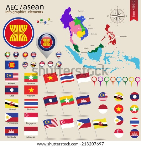 AEC info graphic elements, ASEAN Economic Community, vector illustration - stock vector