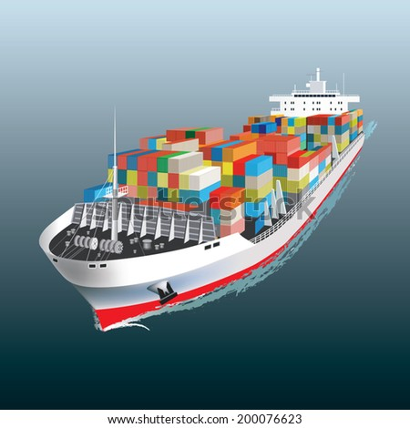 Aerial view of a Cargo vessel. Vector illustration - stock vector