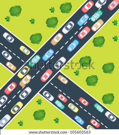 Aerial view of highway traffic with automobile and machinery - stock vector