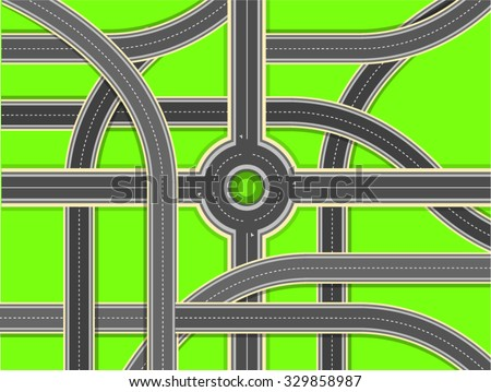 Aerial View - Top View Roads Intersections, Highways - stock vector