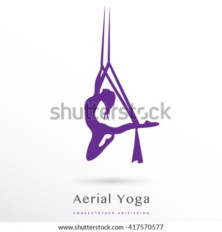 aerial yoga vector icon / logo on white background - stock vector