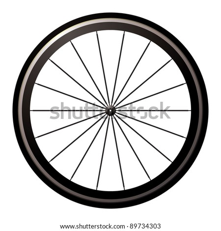 Aerodynamic front road or time trial wheel with tyre - stock vector