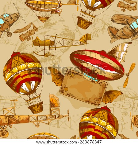 Aeronautic transport old style aviation machines seamless pattern hand drawn vector illustration - stock vector