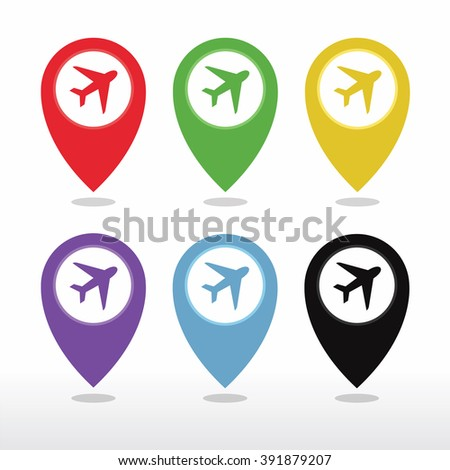 Aeroplane, Airplane, Airport, Landing Field, or Logistic Map Pointer Icon vector - stock vector