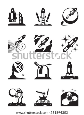 Aerospace mission set of icons - vector illustration - stock vector